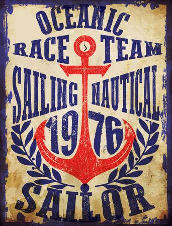Yachting club, grunge grafica vettoriale per l'abbigliamento sportivo in colori personalizzati