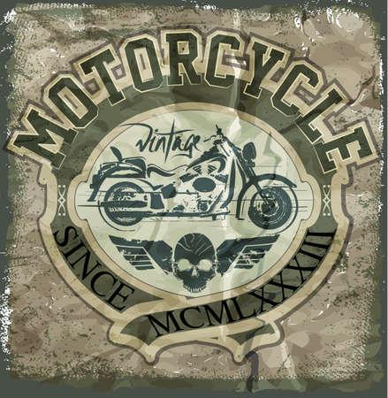 riders: Vintage Motorcycle vector. skull riders motorbike