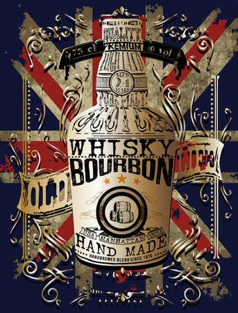 illustration of a bottle of Whisky Illustration