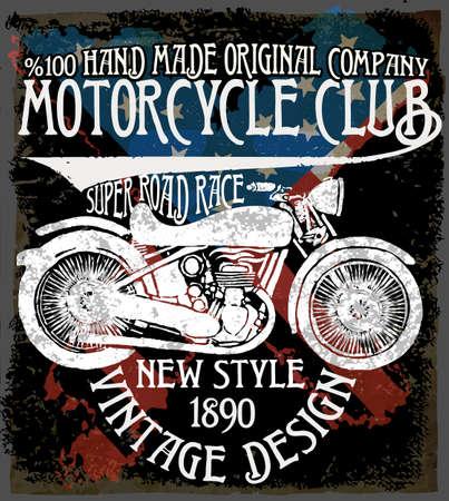 Vintage motorfiets. Hand getrokken grunge uitstekende illustratie met de hand belettering en een retro fiets. Deze illustratie kan worden gebruikt als een afdruk op t-shirts en tassen; stationaire of als een poster. Stockfoto - 56802974