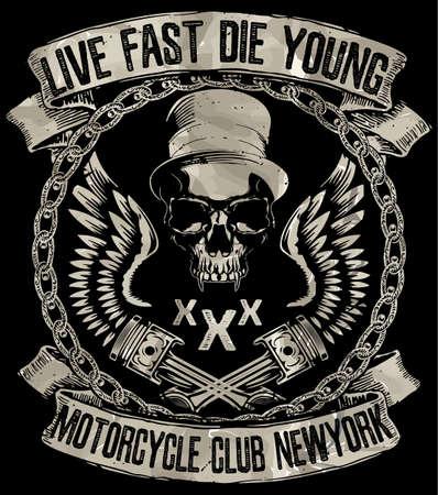 Rocznik motocykla. Ręcznie rysowane grunge vintage, ilustracja z napisem ręki i retro rower. Ta ilustracja może być wykorzystany jako nadruk na koszulkach i toreb; stacjonarne lub jako plakat. Ilustracje wektorowe