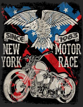 Motorcycle typography; vintage motor; t-shirt graphics; vectors