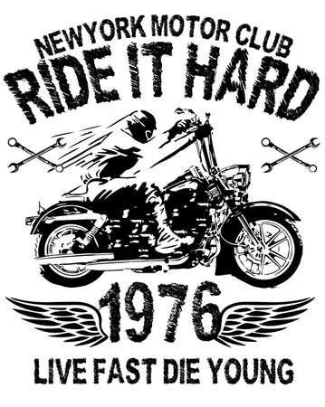 Motorcycle typography; vintage motor; t-shirt graphics; vectors Çizim