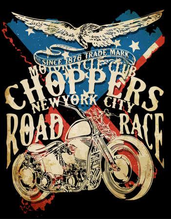 Choppers ilustración retro vintage camiseta de la tipografía de la motocicleta camiseta de imprenta diseño