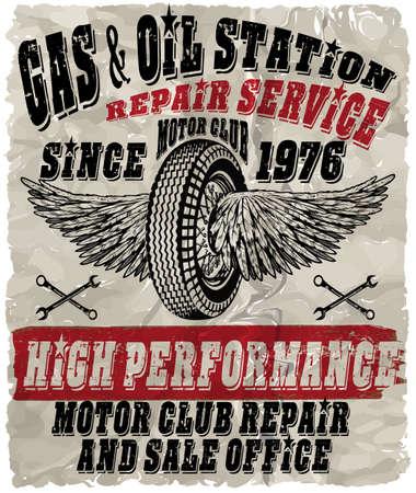 Benzina d'annata retro segni e etichette. Stazione di servizio.