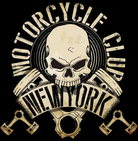 casco moto: Cráneo del motorista de la vendimia del emblema de la camiseta gráfica Vectores
