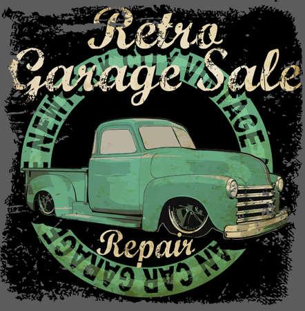 Vintage garage retro banner Stock Illustratie