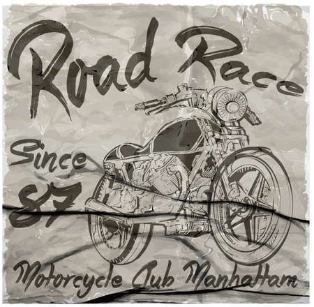 vintage cafe: Vintage Motorcycle hand drawn vector tee graphic design Illustration