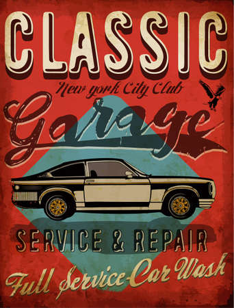 Classic Garage - Vector Tee Graphic Design Иллюстрация