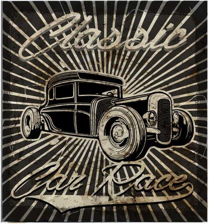 nostalgia: Vintage old car retro style Illustration