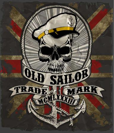 pirate crew: Sailor man skull tee graphic design