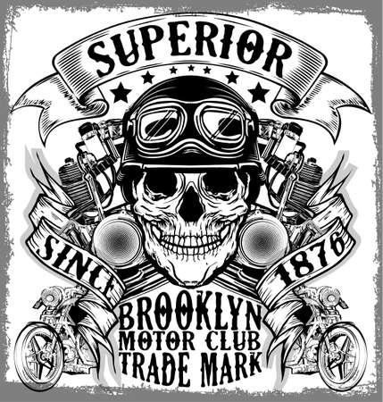 étiquette de moto t-shirt design avec illustration de chopper