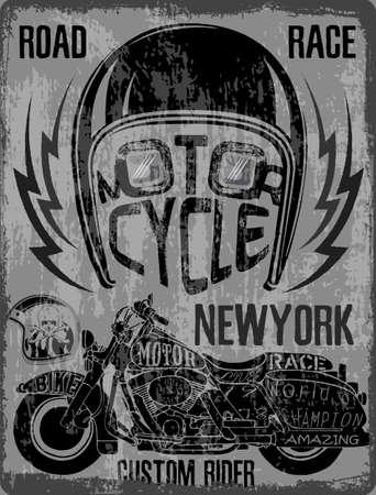 Motorcycle Helmet Typography New York Sports Club Vector Illustration