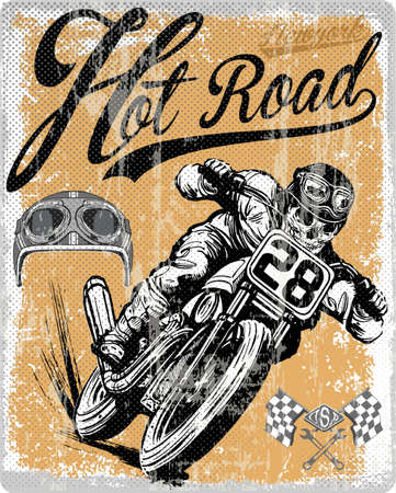 Legendary vintage racers t-shirt label design with racer and motorcycle hand drawn ilustration Çizim