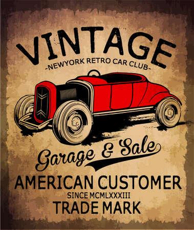 Vintage tee voiture design graphique Vecteurs