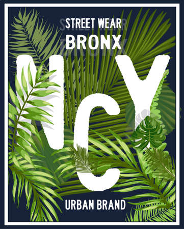 brooklyn: New york Brooklyn typography with floral illustration. T shirt graphic . Vectors