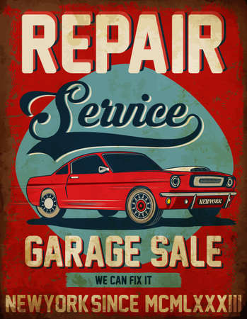 imperfections: Vintage classic car repair service tee graphic design Illustration