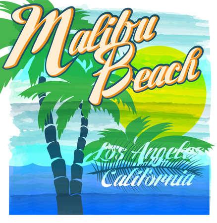 malibu: Malibu beach typography, t-shirt graphics, vectors