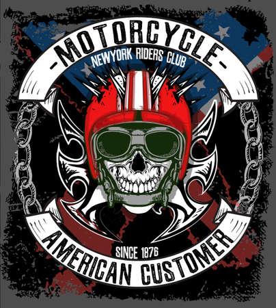 Cráneo del motorista de la vendimia del emblema de la camiseta gráfica Foto de archivo - 59712699