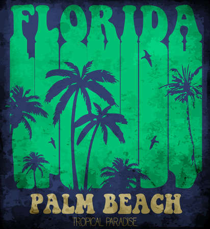 Vector illustration on the theme of surf and surfing in Florida, Palm Beach. Typography, t-shirt graphics, poster, banner, flyer, postcard