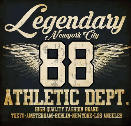 dept: Legendary Athletic Dept. Nyc Varsity Sport vector print and varsity. For t-shirt or other uses in vector.T shirt graphic