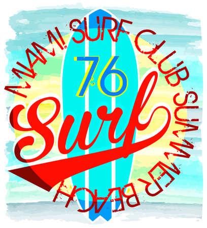 malibu: Surf Illustration  t-shirt graphics  vectors typography pacific surf wave summer tropical heat print surf print vector set wave illustration