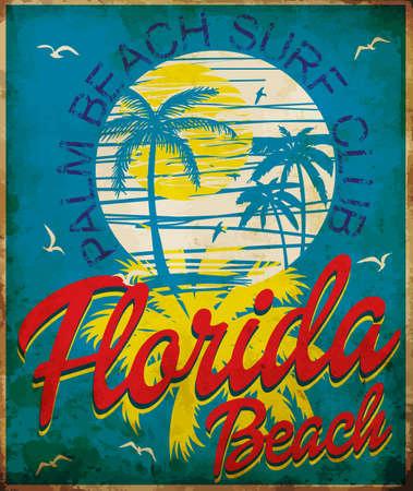Graphique tropical avec design typographique Florida Beach Surf Club