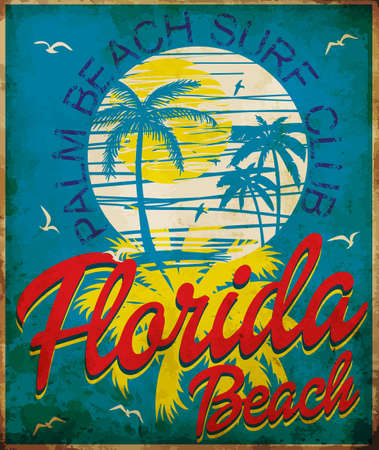 Tropical graphic with typography design florida beach surf club Vectores