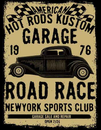 dirty t shirt: Vintage car tee graphic design Illustration