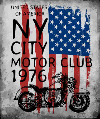 Motorcycle tee graphic with american flag Illustration