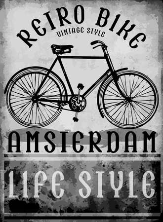 reflection of life: hand drawn bicycle in Amsterdam European street sport Illustration