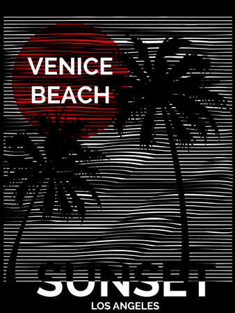 Vintage Tropical graphic with typography design Venice Beach Los Angeles