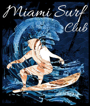 wind surfing: Miami Beach Wind Surfing Illustration