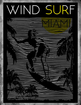 Miami Beach Wind Surfing Illustration