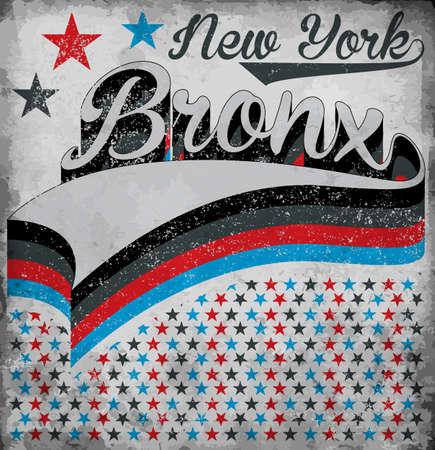 t shirt blue: College New York Bronx typography, t-shirt graphics, vectors Illustration