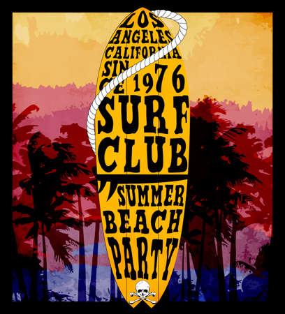 Surf Ilustración / gráficos de la camiseta / vectores / tipografía / Navegar por las olas del Pacífico / verano calor tropical de impresión / impresión de conjunto de vectores de surf / ilustración de la onda Foto de archivo - 60725218