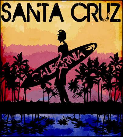 Summer tee graphic design florida california Ilustrace