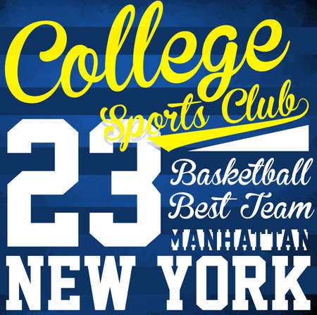 college basketball: College basketball typography print logo; work wear typography; t-shirt graphics; vector