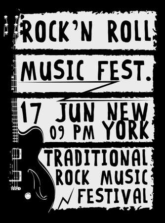 Hand getrokken Rock festival poster. Rock and Roll teken. Stock Illustratie