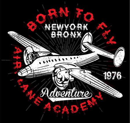 Vintage Airplanes typography, shirt graphics, vectors Illustration
