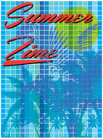Summer time - hand drawn calligraphy. Summer holidays and beach vacation vector illustration