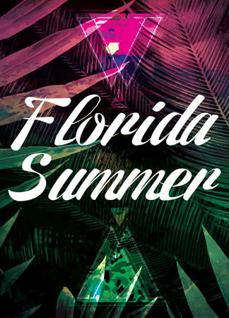 Beautiful sunshine view posters. Vector background with palm trees