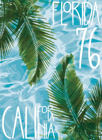 t shirt blue: Vector illustration summer theme california florida Grunge background. Vintage design. Typography; t-shirt graphics; print; poster; banner; flyer; postcard