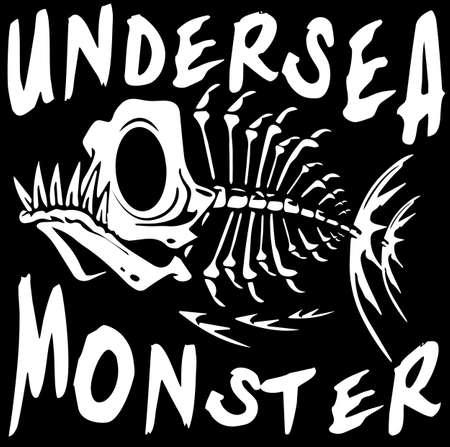 Tee grafisch ontwerp onderwater monster