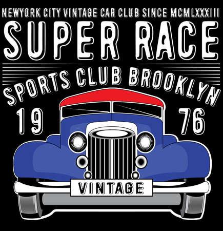 Retro car. Vintage car. Sport car. Ilustracja