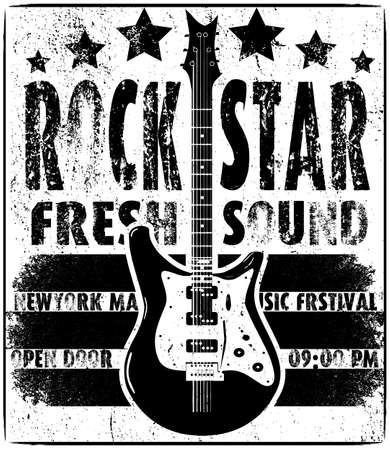 distorted image: Cool grunge hand drawn electric guitar with distorted text in it. Rock Star. EPS10 vector image.