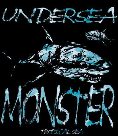 Tee diseño gráfico monstruos submarinos Foto de archivo - 61580853