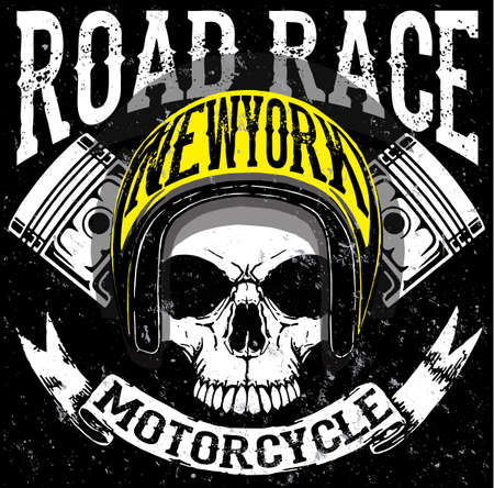 skull and crossed bones: Tee skull motorcycle graphic design
