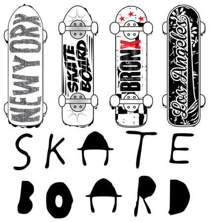 Skate board typography; t-shirt graphics; vectors Иллюстрация