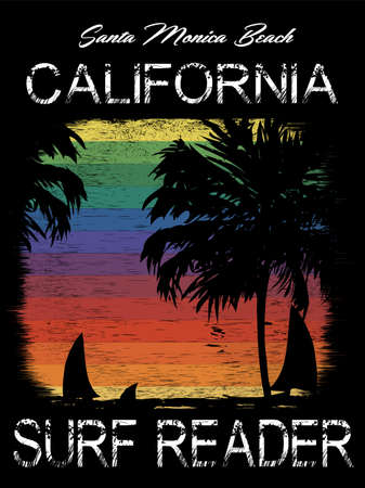 Surf California Typography, t-shirt graphics, poster, banner, flyer; print, postcard